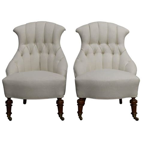 pair of vintage swedish tufted slipper chairs circa