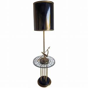 1960s brass armillary astrological floor lamp with gold for Gold shell floor lamp