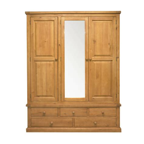 Solid Pine Wardrobe by Stamford Solid Pine Large Mirror Wardrobe