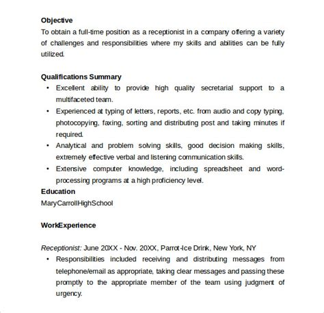 receptionist resume templates   sample