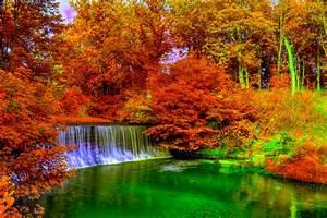 Autumn landscape painting river wood full hd 1080p hd ...