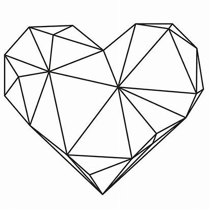 Geometric Heart Shapes Drawing Origami Tattoo Frame