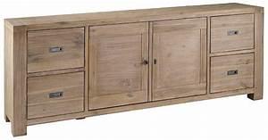 Meuble Bas 2 Portes : meuble bas 2 portes 4 tiroirs nevada en acacia 220x45x85cm ~ Dallasstarsshop.com Idées de Décoration