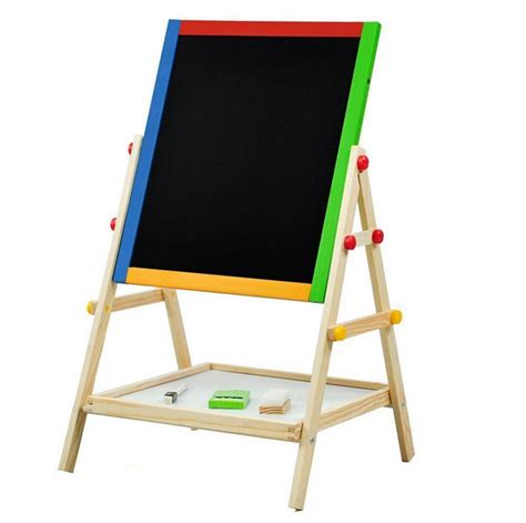 wooden standing easel  kids adjustable double sided art
