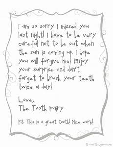 forgettful tooth fairy free printable note With letter from the tooth fairy template
