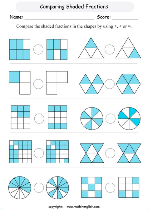 year 2 maths fractions of shapes order fractions in