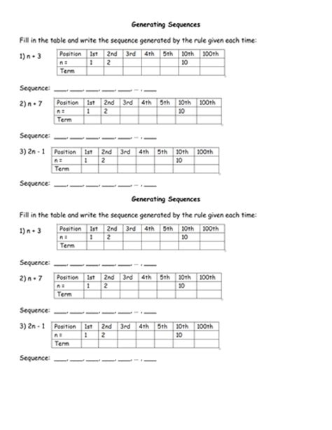 Generating Sequences Worksheet By Jhofmannmaths  Teaching Resources Tes