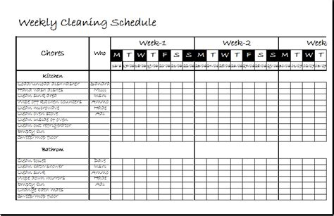 weekly clean  spreadsheet template xls excel templates