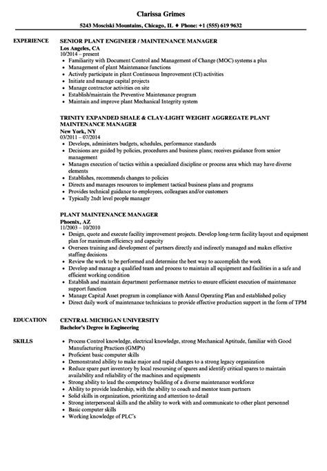 Maintenance Manager Resume by Plant Maintenance Manager Resume Sles Velvet
