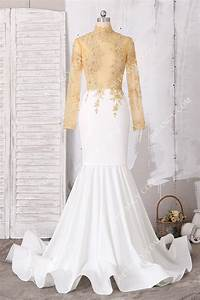 Illusion High-neck Beaded Gold Lace and White Jersey ...