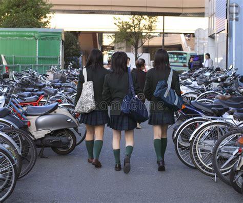 japanese schoolgirls stock photo image  city asia