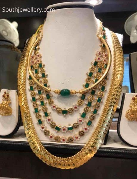 simple kante necklace layered emerald haram and kasu haram