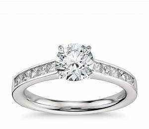 princess cut channel set diamond engagement ring in With platinum princess cut wedding rings