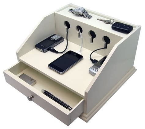 desk l with charging station heiden deluxe charging station valet transitional