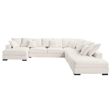 canapé d angle 7 places canapé d 39 angle modulable 7 places en coton ivoire loft