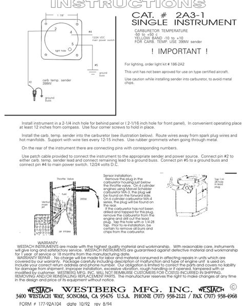 Westach Carburetor Temp Gauge Kit Aircraft Spruce