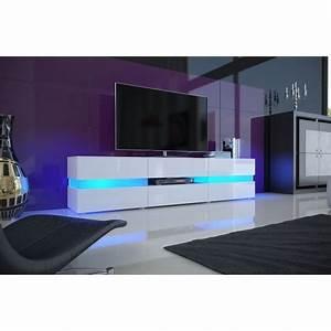 Meuble Tv Lumineux : meuble tv hifi lumineux laqu blanc 3 portes 1 tiroir ~ Teatrodelosmanantiales.com Idées de Décoration