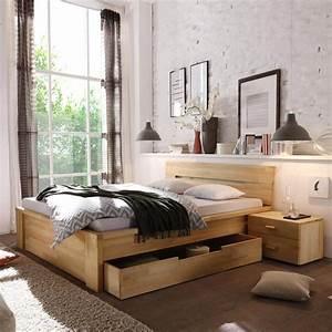 Holzbett Mit Bettkasten 180x200 : bett roros 180x200 mit schubladen in kernbuche massiv ge lt ~ Bigdaddyawards.com Haus und Dekorationen