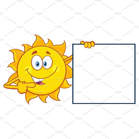 talking sun pointing   blank sign illustrations