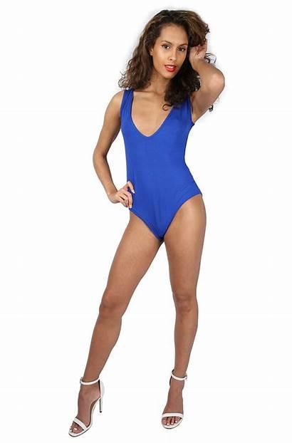 Leotard Sleeveless Bodysuit Stretch Plunge Womens Plain