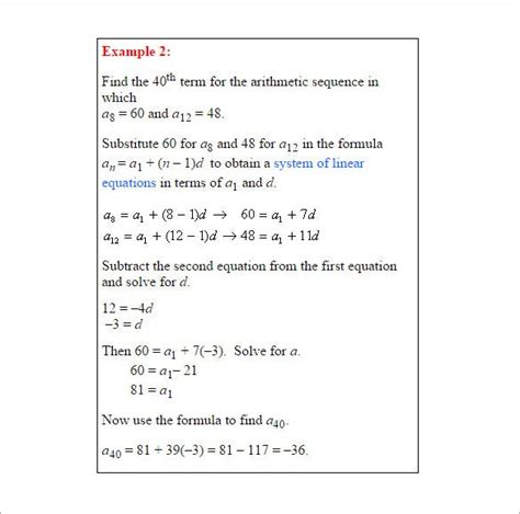 arithmetic sequence word problems worksheet  answers