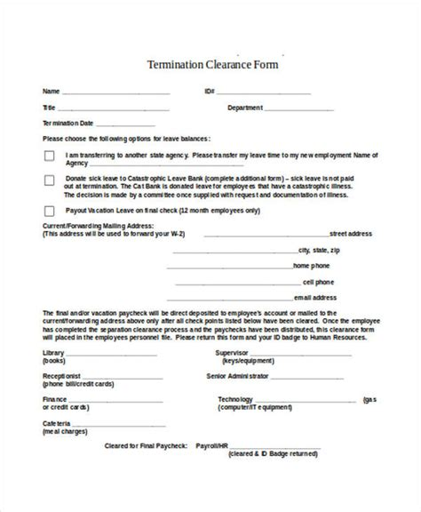 employee clearance forms  ms word
