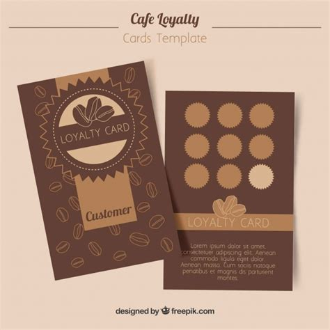 loyalty card template  coffee coupons vector