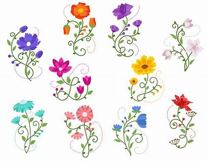 Floral Clip Blossoms Embroidery Digitizing Semi Exclusive
