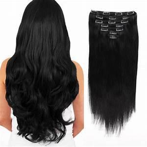 Clip In Hair Extension Jet Black 1