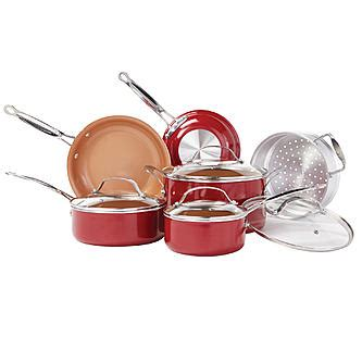 tv  pc red copper cookware set