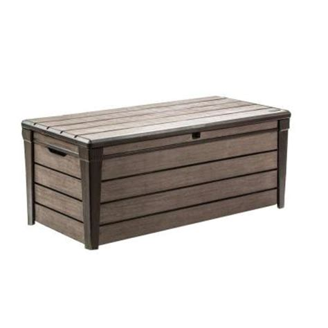 keter deck box 120 gallon keter brushwood 120 gal resin deck box 227329 the home