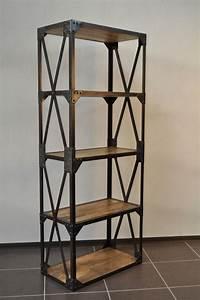 Etagere Style Industrielle : etag re industrielle structure acier et bois diy pinte ~ Teatrodelosmanantiales.com Idées de Décoration
