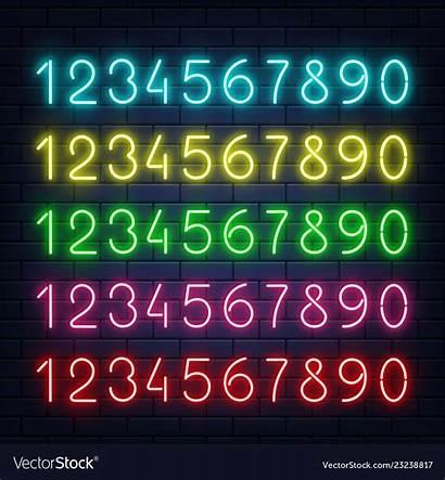 Neon Numbers Glowing Brick Wall Vector Number