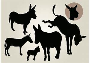 Donkey Vector Silhouette Set - Download Free Vector Art ...