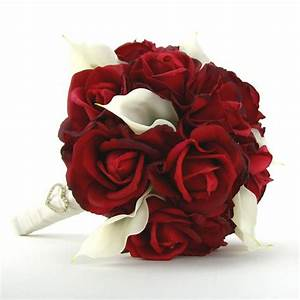 Bridal Bouquet Red Roses White Calla Lilies Real Touch ...