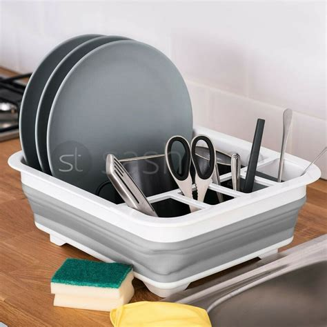 collapsible dish drainer large folding dish draining board plates cutlery rack  ebay