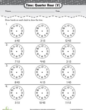 learning to tell time quarter hour worksheet