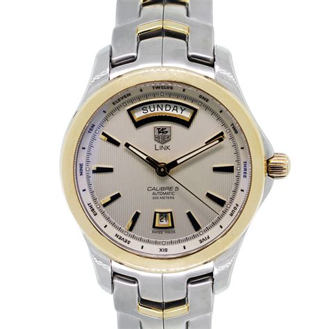 Tag Heuer Calibre 5 Link Wjf2050 Two Tone Mens Watch