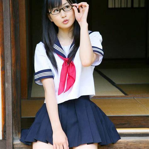 japanese school girl uniform  white bar short sleeve