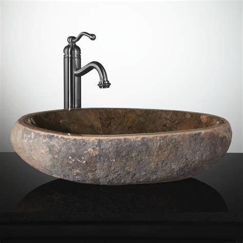 Mosaic Natural River Stone Vessel Sink  Brown Onyx  Bathroom