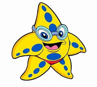 Starfish Clip Clipart Cartoon Swimming Cliparts Fish