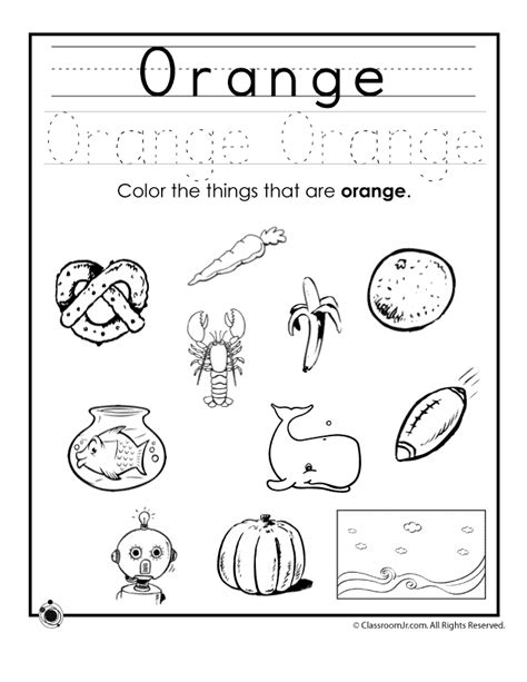 color orange worksheet woo jr activities 771 | orange colors