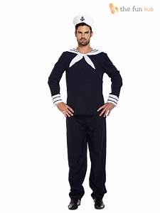 Mens Sailor Complete Outfit + Hat Navy Fancy Dress Officer Marine Seaman Costume   eBay