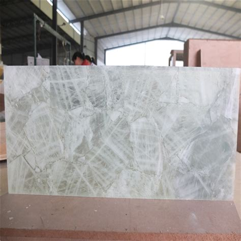 natural quartz crystal stone backlit tileslab