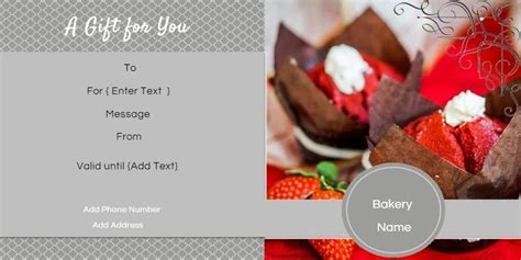 gift certificate templates   bakery