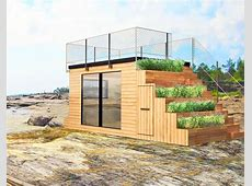 Steps is a tiny Swedish shelter with green steps that lead