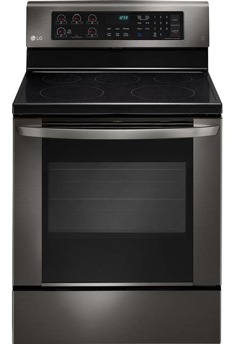 lg black stainless steel electric range lrebd