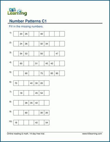 identifying number patterns worksheets for grade 1 k5