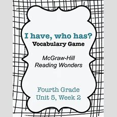 I Have Who Has Vocabulary Game (reading Wonders 4th Grade Unit 5 Week 2)  Reading, Vocabulary