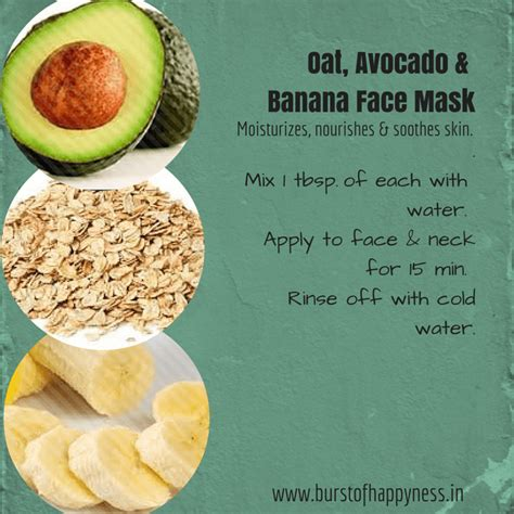 oat avocado banana face mask  moisturize nourish